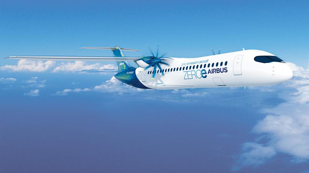 ZEROe - Dieses Modell von Airbus soll mit modifizierten Turboprop-Triebwerken und Wasserstoff fliegen. Foto: Airbus