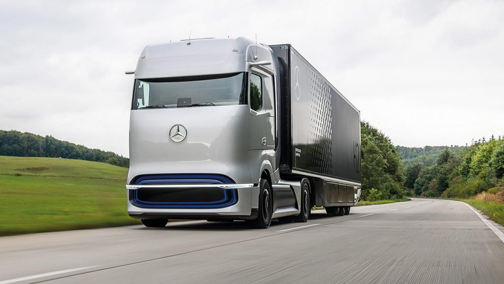 """Wasserstoff-Lkw: Der """"GenH2-Truck"""" von Daimler soll künftig mit Brennstoffzelle fahren. Foto: Daimler"""