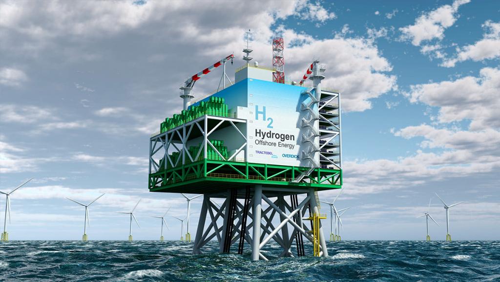 Mit dem auf See erzeugten Strom könnte direkt vor Ort Wasserstoff produziert werden. Foto: Tractebel