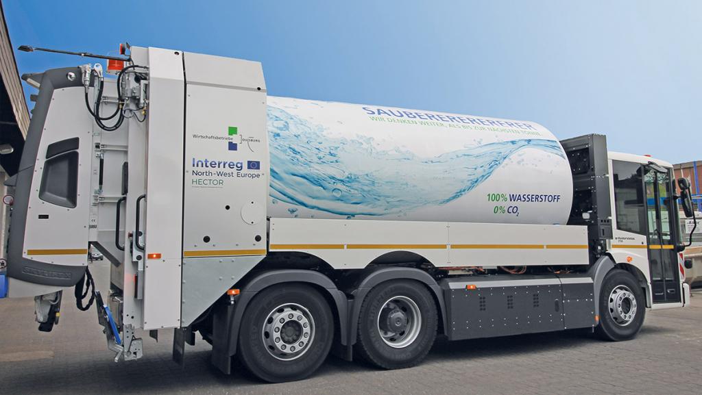 In Duisburg holt ein Wasserstoff-Auto den Müll ab. (Foto: Wirtschaftsbetriebe Duisburg)