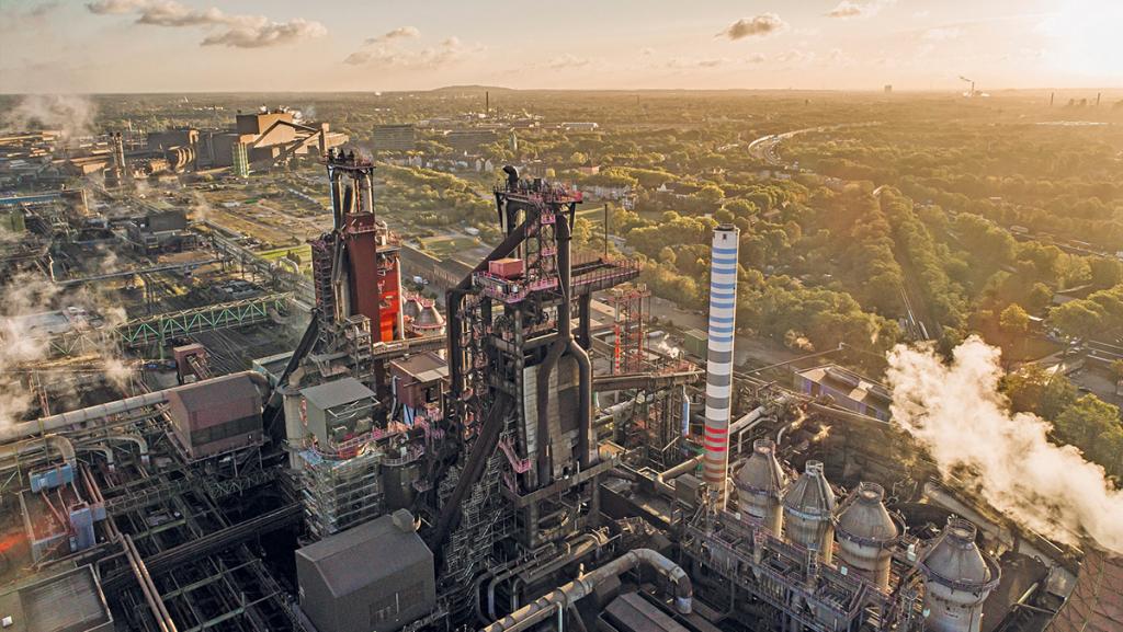"""""""Hochofen 9"""" in Duisburg: Thyssenkrupp will hier in Zukunft Wasserstoff statt Kohlenstaub verwenden. (Foto: Thyssenkrupp)"""